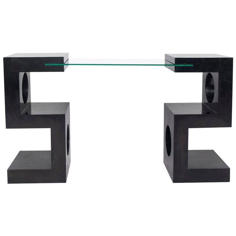 Mid-Century Tessellated Black Marble and Glass Console Table