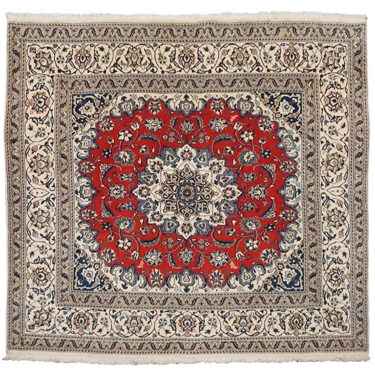 Ivory Wool And Silk Persian Naein Area Rug For Sale At 1stdibs: Square Wool And Silk Persian Naein Area Rug For Sale At