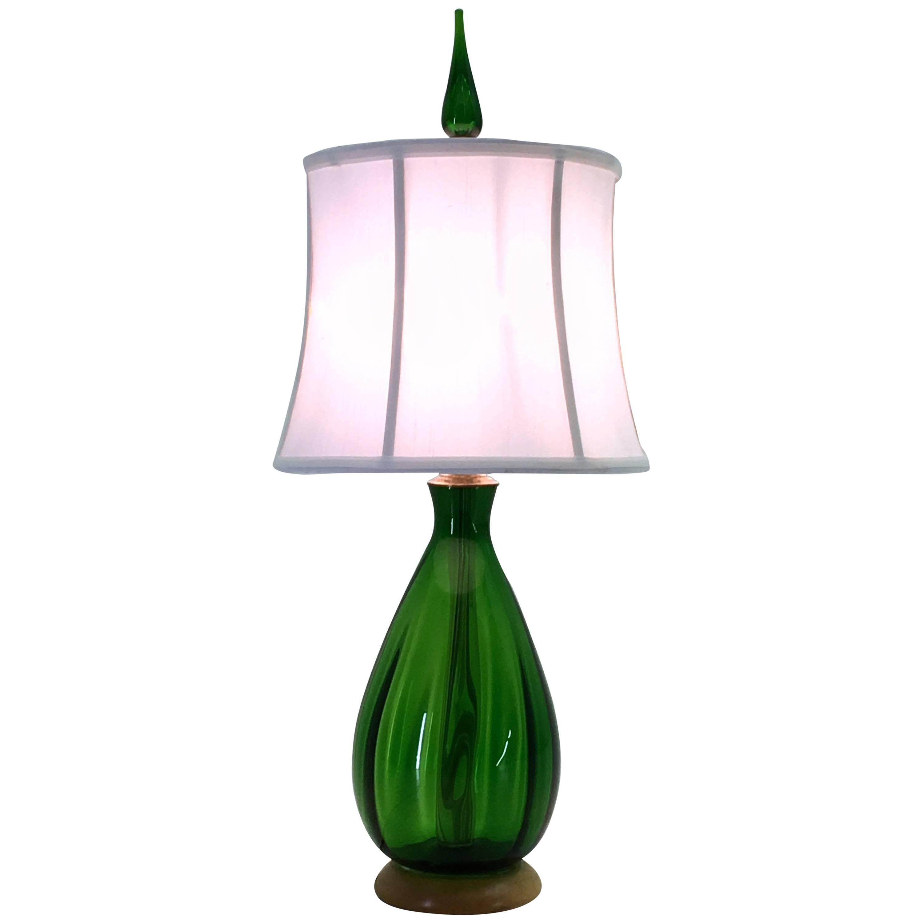 Emerald Green Glass Table Lamp By Blenko At 1stdibs
