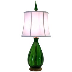 Emerald Green Glass Table Lamp by Blenko