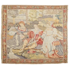 Antique French Tapestry, Petit Point Square Picnic Scene with Floral Border