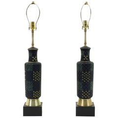 Extraordinary Pair of Art Deco Enameled Glass Lamps