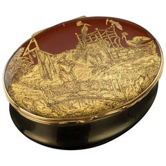 Antique French 18-Karat Gold-Mounted and Japanese Lacquer Snuff Box, circa 1840