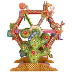 Mexican Folk Art Woodcarving Alebrijes Fortune Wheel Folkloric Art