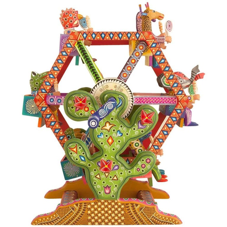 Mexican Folk Art Woodcarving Alebrijes Fortune Wheel Folkloric Art For Sale