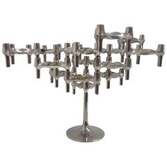Fritz Nagel and Ceasar Stoffi 15 Chrome Candleholders with Rare High Base