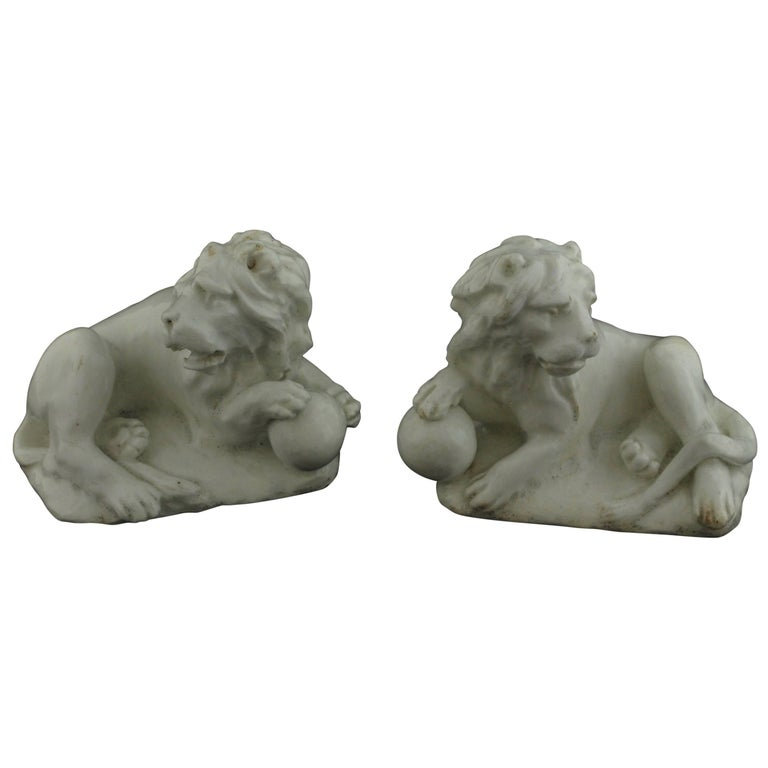 Pair of Lions. Bow Porcelain C1750