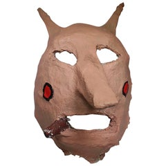 Midcentury Handmade Plaster Halloween Mask, circa 1960s