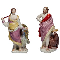 Pair of figures: Jupiter and Juno, or Zeus and Hera. Bow Porcelain C1752