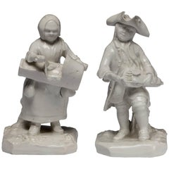 Pair of Itinerant Ballad Singer figures. Bow porcelain C1748