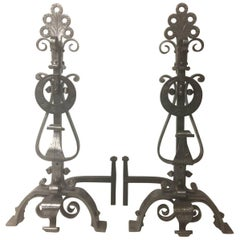 Gorgeous Pair of Scrolled Iron Andirons and Cross Bar