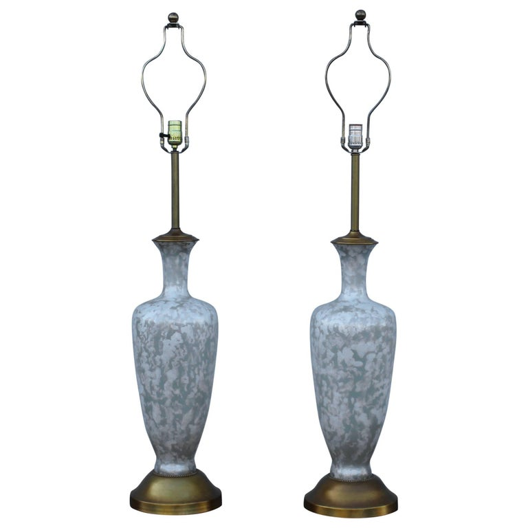 1950s Tall Glass and Gold Leaf Table Lamps