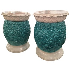 Glazed Terra Cora Pineapple Garden Stools Stands Italian Pair of End Side Tables