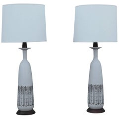 1960s Modern Ceramic and Walnut Italian Table Lamps