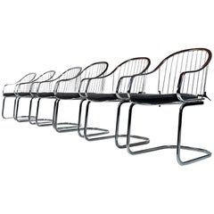 Gastone Rinaldi Style Chrome Wire Frame Dining Chairs Made in Italy, 1960s