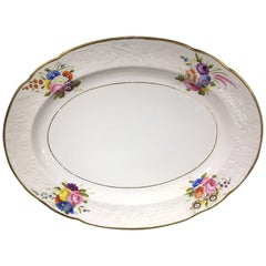 Spode Oval Platter, Moulded and Painted with Flowers Pat. 1943, circa 1815