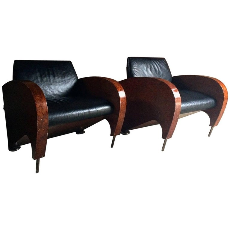 Pair of Art Deco Club Chairs Tub Lounge Walnut Black Leather, French, 1940s For Sale