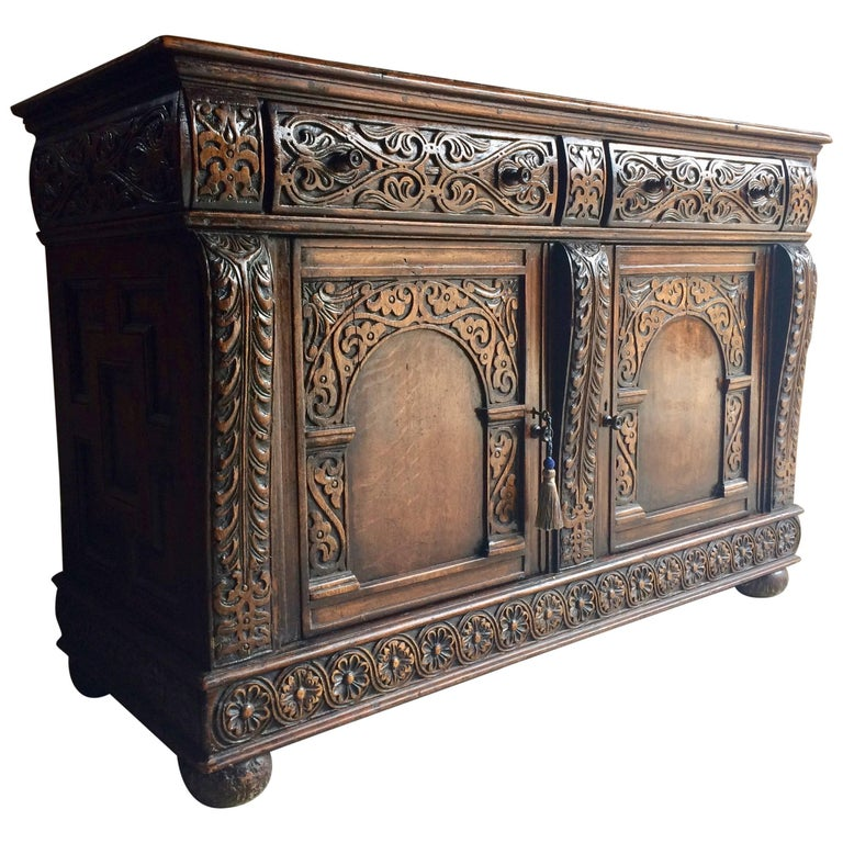 Well-known Antique Sideboard Buffet Credenza Solid Oak Heavily Carved Gothic  QP85