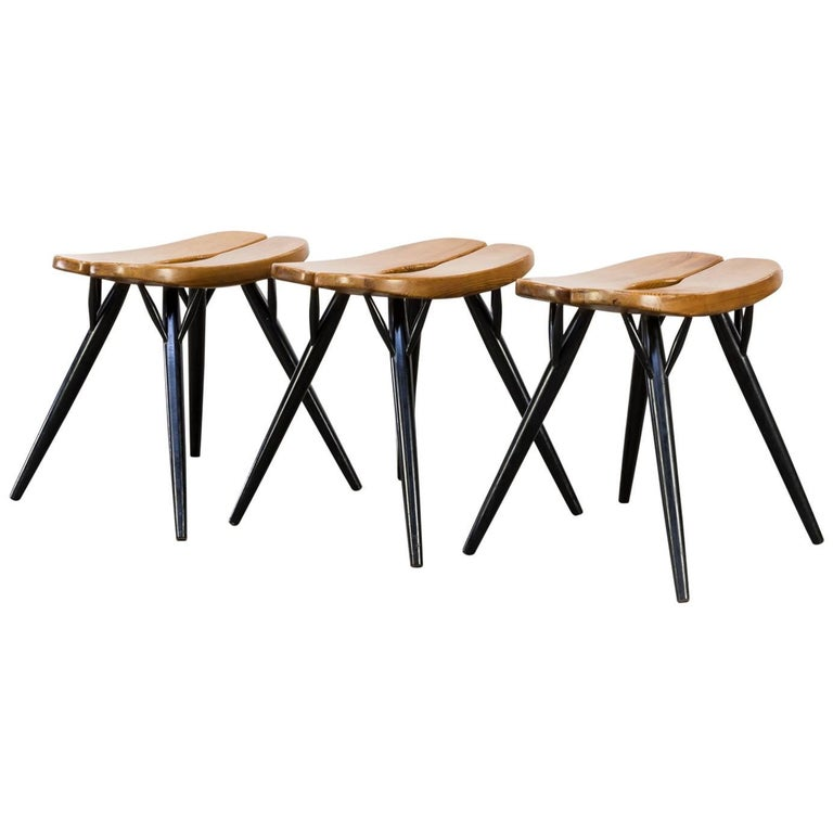 Ilmari Tapiovaara 'Prikka' Stools for Laukaan Puu, Set of Three