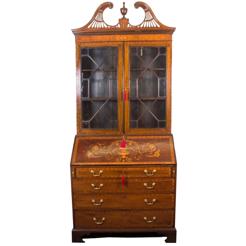 19th Century English Victorian Mahogany Bureau Bookcase