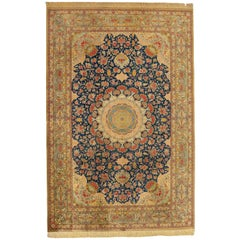 20th Century Blue and Beige Qom Pure Silk Rug