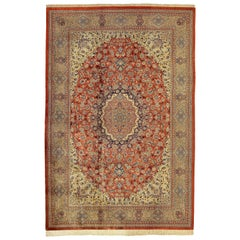 20th Century Red Qom Pure Silk Rug