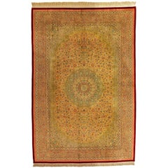 20th Century Beige Qom Pure Silk Rug