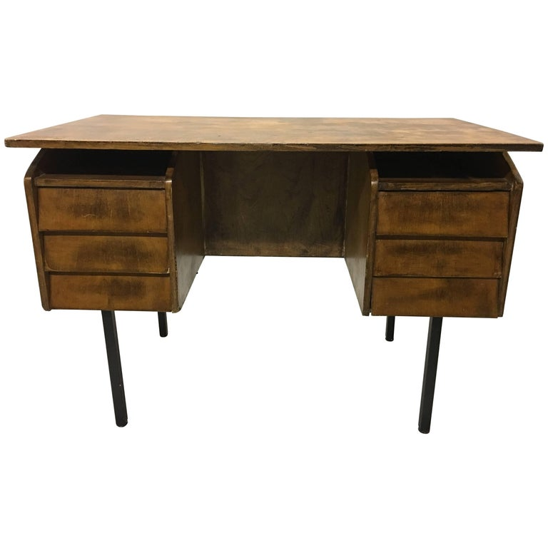 German Mid Century Modern Cantilevered Wood And Metal Desk By Voss 1950 For