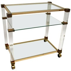 Vintage 1970s Drinks Trolley in Glass and Lucite