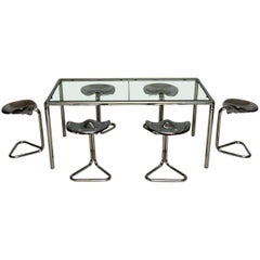 1970s Vintage Dining Table and Tractor Stools by Rodney Kinsman for OMK