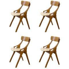 1950s Arne Hovmand Olsen Dining Chair for Mogens Kold, Set of Four