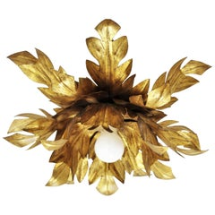 Hollywood Regency Gilt Iron Flower Burst Flush Mount or Wall Light, Spain, 1950s