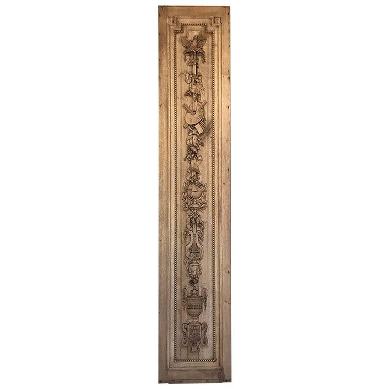 Grand 19th Century French Louis XVI Hand-Carved Oak Panel, over 9 Feet Tall For Sale