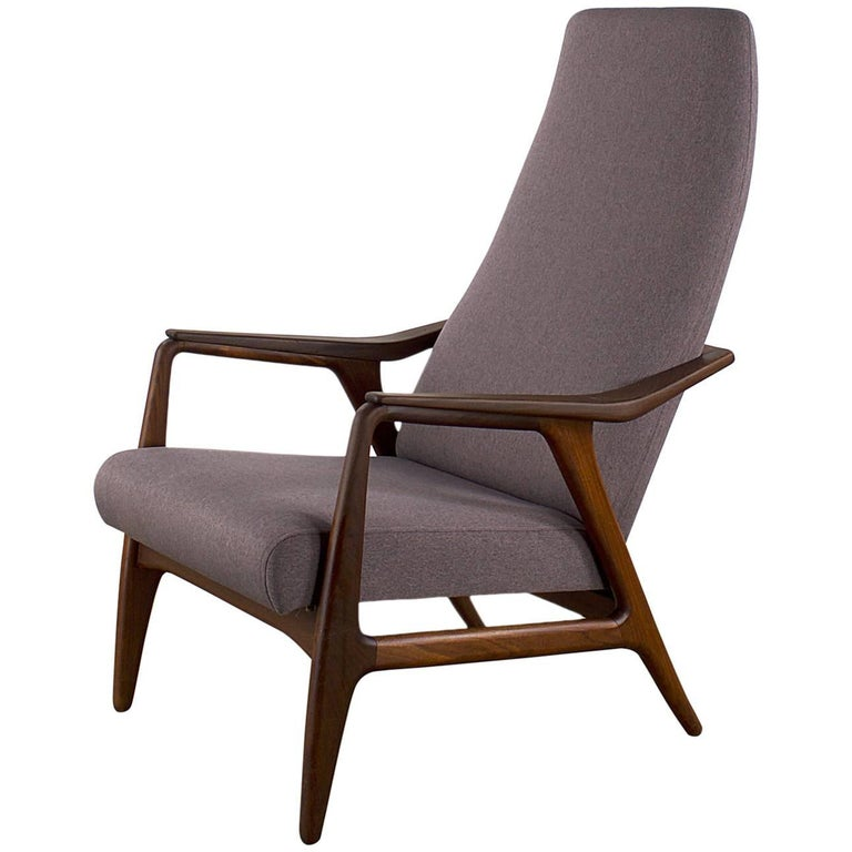 Midcentury teak easy chair fauteuil reupholstered for for Reupholstered chairs for sale