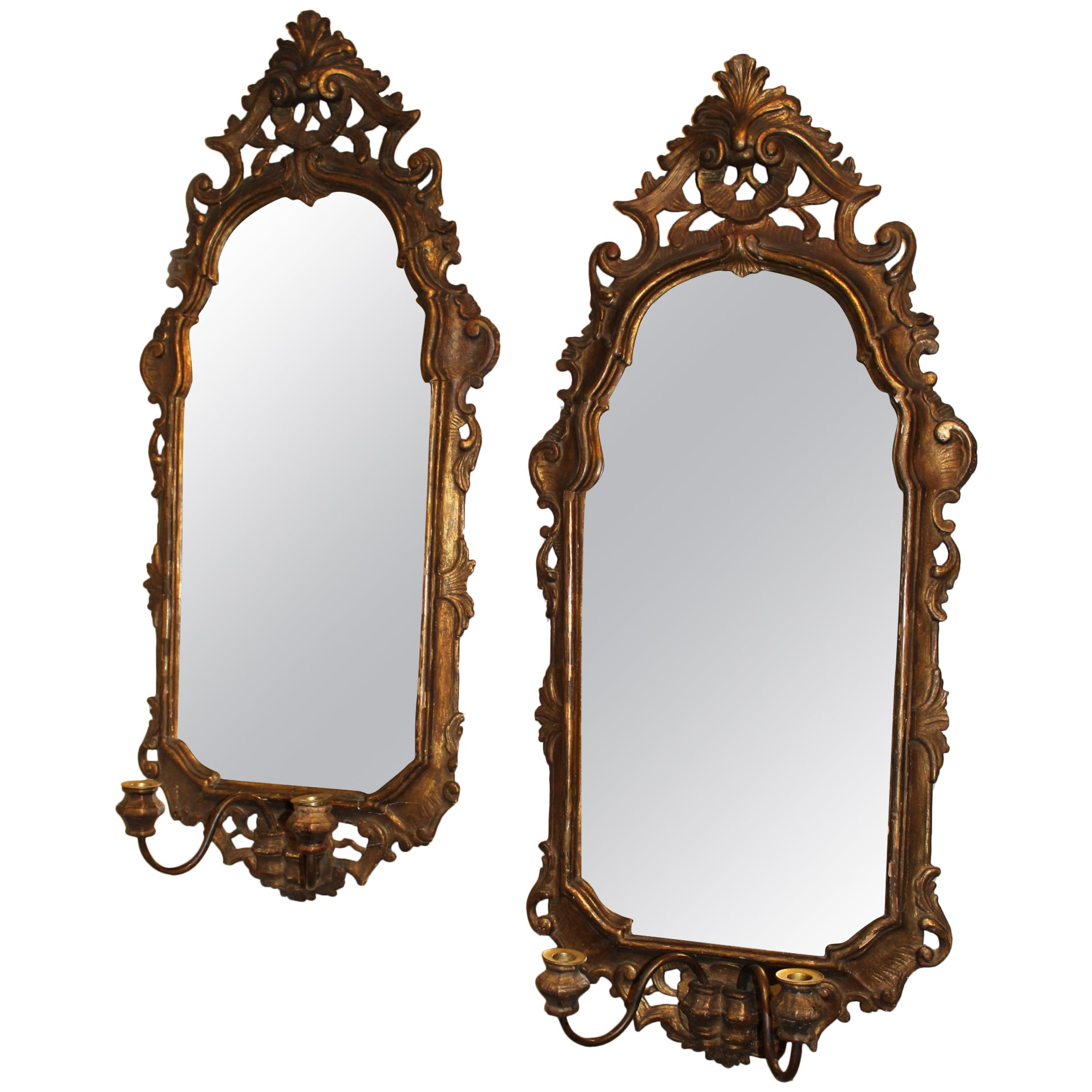 Pair of 19th Century, Italian Rococo Gilt Mirrored Sconces