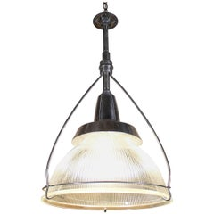 Vintage Industrial Three-Bulb Glass Holophane Pendant Hanging Light