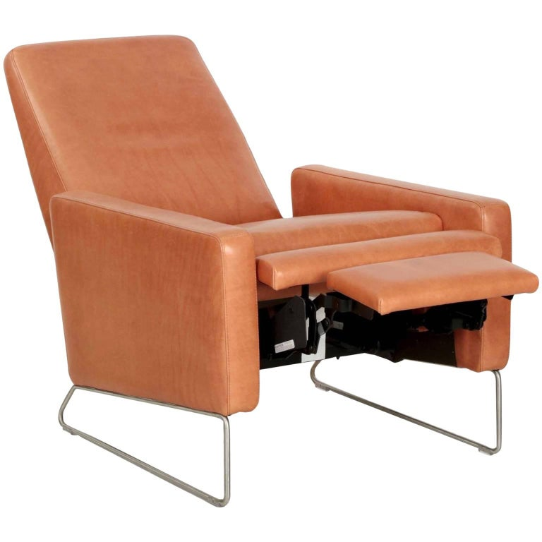 Fantastic Ted Boerner For Dwr Caramel Brown Reclining Leather Lounge Machost Co Dining Chair Design Ideas Machostcouk