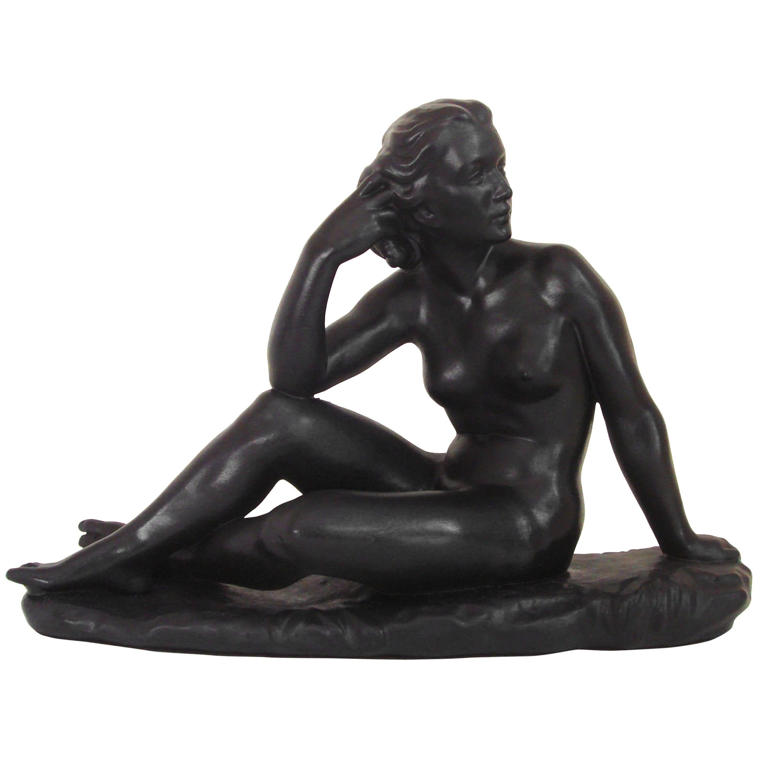 Canadian Mid-Century Painted Plaster Figural Seated Nude Sculpture by Jackir