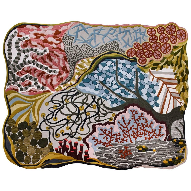 Angela Adams Ocean Floor Area Rug & Tapestry, One-of-a-kind, Handcrafted, Modern For Sale