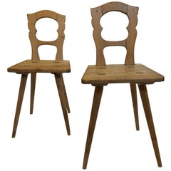 Pair of Early Pine Moravian Side Chairs, Pennsylvania, circa 1780