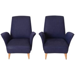 Pair of Navy Blue Italian Lounge Chairs, circa 1950