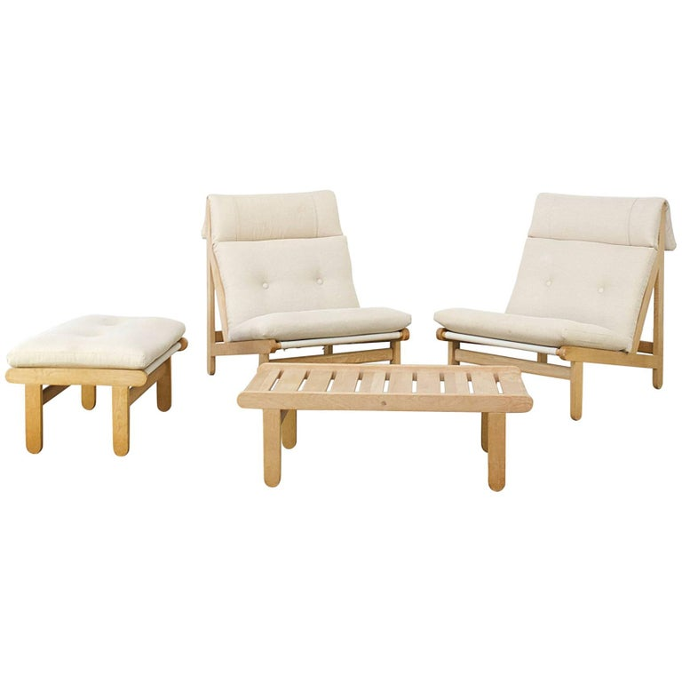 1960s Bernt Petersen 'A Frame' Fauteuils, Ottoman and Coffee Table for Schiang
