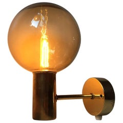 Vintage Swedish Brass and Smoke Glass Globe Sconce by Hans-Agne Jakobsson