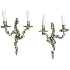 Pair of Edwardian Rococo Style Brass Wall Lights