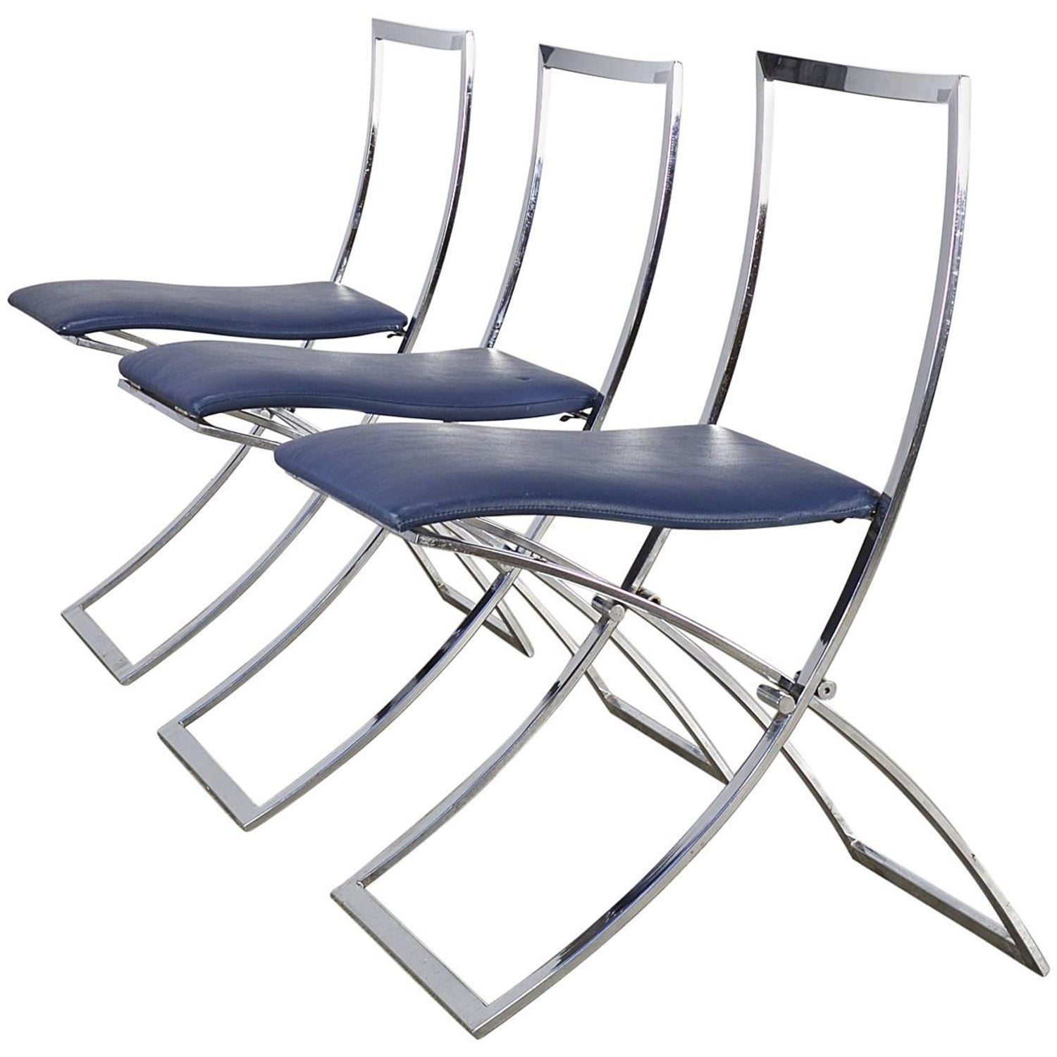 "Six Stainless Steel 1960s Folding Dining Chairs ""Luisa"" by"