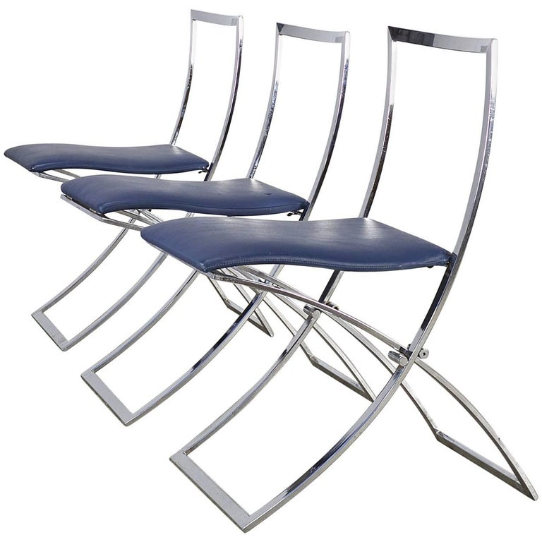Marcello Cuneo Folding Chair 'Model Luisa' for Mobel Italia, Set of Three For Sale