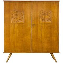 1960s Louis Van Teeffelen Carved Animals Cabinet for WéBé