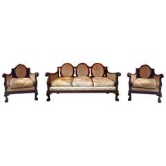 Antique Three-Piece Sofa Settee Suite Edwardian Bergere
