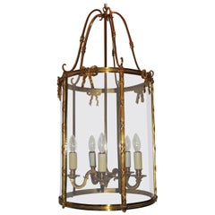 Elegant Doré Etched Bow Bronze Louis XVI Lantern Fixture Curved Glass Panels