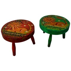Peter Hunt Folk Art Painted Stools